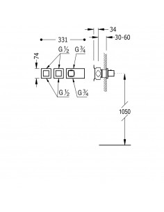 TRES BLOCK SYSTEM - BATERIA PRYSZNICOWA TERMOSTATYCZNA PODTYNKOWA CHROM - 20725399