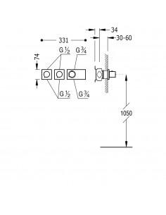 TRES BLOCK SYSTEM - BATERIA PRYSZNICOWA PODTYNKOWA TERMOSTATYCZNA CHROM - 20735399
