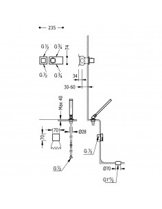 Tres Block-System zestaw wannowo-prysznicowy z baterią termostatyczną podtynkową chrom 20725207
