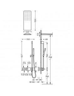 Tres Block-System zestaw prysznicowy z baterią podtynkową termostatyczną czarny mat 20735210NM