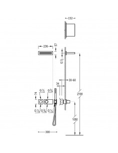 Tres Block-System zestaw prysznicowy z baterią termostatyczną chrom 20735203