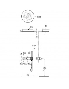 Tres Block-System zestaw prysznicowy z baterią podtynkową termostatyczną czarny mat 20735204NM