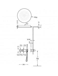 Tres Block-System zestaw prysznicowy z baterią termostatyczną chrom 20735211