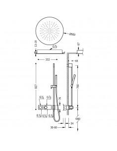 Tres Block-System zestaw prysznicowy z baterią termostatyczną chrom 20735212