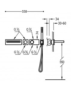 Tres Block-System zestaw wannowo-prysznicowy z baterią podtynkową termostatyczną czarny mat 20739201NM