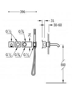 Tres Block-System zestaw wannowo-prysznicowy z baterią podtynkową termostatyczną chrom 20735209