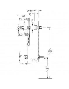 Tres Block-System zestaw wannowo-prysznicowy z baterią podtynkową termostatyczną czarny mat 20735208NM