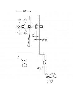Tres Block-System zestaw wannowo-prysznicowy z baterią termostatyczną podtynkową chrom 20735206