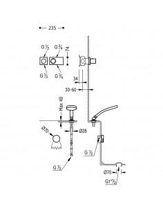 Tres Block-System zestaw wannowo-prysznicowy z baterią termostatyczną podtynkową chrom 20735207