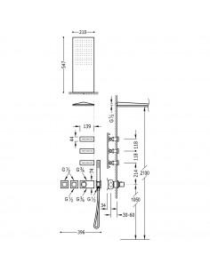 Tres Block-System zestaw prysznicowy z baterią termostatyczną chrom 20725301