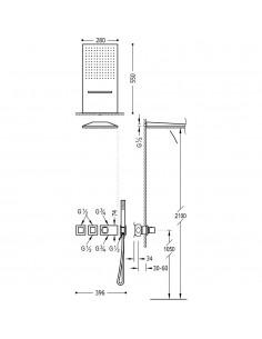 Tres Block-System zestaw prysznicowy z baterią podtynkową termostatyczną czarny mat 20725302NM