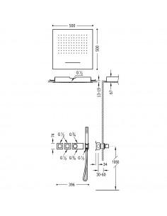 Tres Block-System zestaw prysznicowy z baterią podtynkową termostatyczną czarny mat 20725303NM