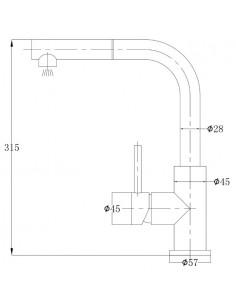 Bateria zlewozmywakowa, z wyciąganą, obrotowa wylewka, 1-funkcyjna Omnires Albany inox AB1455