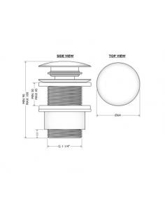 Korek umywalkowy klik-klak, bez przelewu BDP-WBB-200-NS-UB-BZ