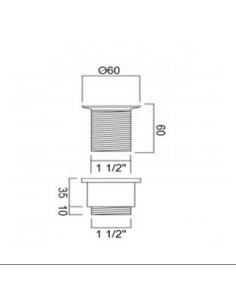 "Korek umywalkowy otwarty 1.1/4"" 60mm brąz BDP-WBB-302-BZ"
