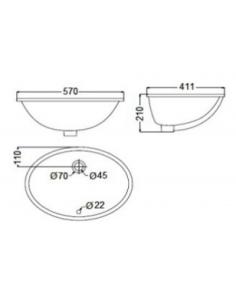 Umywalka ceramiczna podblatowa, z przelewem BDS-REM-105611-A-WH