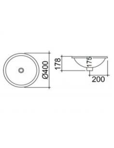 Umywalka ceramiczna podblatowa, z przelewem BDS-REM-106511-A-WH