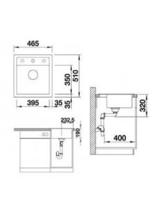 Zlewozmywak kuchenny wbudowywany jednokomorowy BLANCO DALAGO 45 510x465 mm Silgranit muszkat, korek z sitkiem 521856