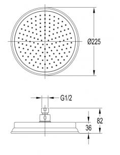 Deszczownica 1-funkcyjna,22,5 cm Omnires Armance WG CR