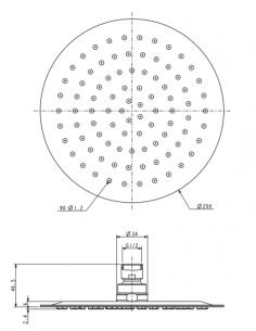 Deszczownica ze stali nierdzewnej 1-funkcyjna ø 20 cm Omnires Ultra SlimLine WGU120