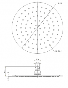 Deszczownica ze stali nierdzewnej 1-funkcyjna ø 25 cm Omnires Ultra SlimLine WGU125