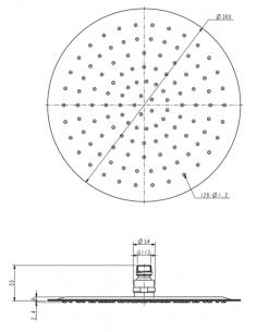 Deszczownica ze stali nierdzewnej 1-funkcyjna ø 30 cm Omnires Ultra SlimLine WGU130