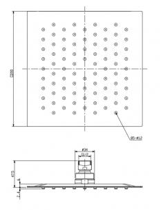 Deszczownica ze stali nierdzewnej, 20 x 20 cm Omnires Ultra SlimLine WGU220/K