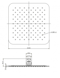Deszczownica ze stali nierdzewnej 1-funkcyjna 25 x 25 cm Omnires Ultra SlimLine WGU225