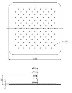 Deszczownica ze stali nierdzewnej 1-funkcyjna 30 x 30 cm Omnires Ultra SlimLine WGU230