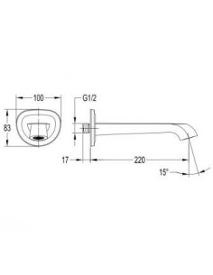 Wylewka 22 cm miedź antyczna Omnires Armance WD ORB -