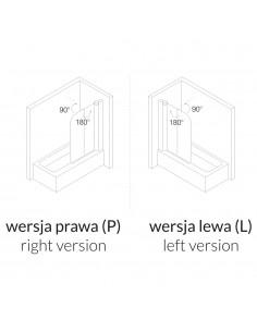 Parawan 2-elementowy: skrzydło uchylne i ścianka stała, 115x140 cm Omnires profil chrom,szkło przezroczyste prawy QP95B-P TR