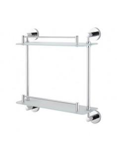 Półka prosta podwójna szkło matowe 38,5 cm x 12 cm x 39,5 cm Stella Classic 07.842