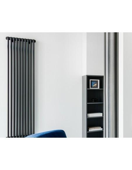 Grzejnik industrialny,loftowy Instal Projekt TUBUS TUB3, 10 elementów,485 mm,wysokość 200 cm,podł D50,kolor C31 black mat