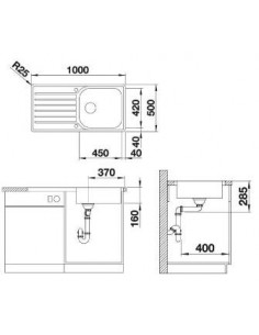 Zlewozmywak kuchenny, wpuszczany, jednokomorowy BLANCO IDENTO 45S odwracalny 800x510 mm korek automatyczny, czarny 522121